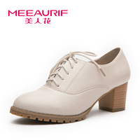 Princess high-heeled shoes small white shoes single shoes female thick heel vintage women's high-heeled fashion shoes