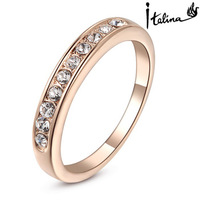 Italina Rigant 18K Rose Gold Plated Genuine Austrian Engagement Ring With Swarovski Crystal Stellux Cubic Zirconia #RG90671