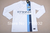 Manchester City Champion League UEFA  Long Sleeved Jersey 2014, Player Version ,Free Shipping ,KUN AGUERO SILVA NEGREDO TOURE