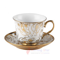 European Style Ceramic Coffee Cup tray spoon Exquisite and Luxury Pattern