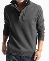 2013 male sweater stand collar outerwear faux two piece men's sweater men's clothing crochet pullover spring