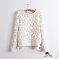2013 embossed slim cotton long-sleeve basic shirt low-high zipper sweatshirt female