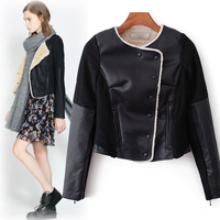 2013 autumn and winter fashion women's fur one piece patchwork long-sleeve single breasted woolen leather clothing short jacket