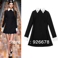 2013 autumn winter brand new women fashion lace patchwork dress, OL autumn brand new dress