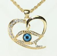 Women Gifts!Fashion Sweet Heart Pendant Rhinestone Necklace Turkey Evil Eye 18K Gold Plated Chain Necklace For Women
