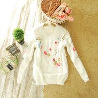 2013 autumn and winter women sweet gentlewomen beading flower loose long-sleeve sweater pullover female