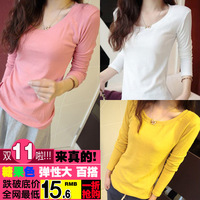 2013 women's t-shirt female long-sleeve candy all-match plus velvet thermal basic o-neck shirt top