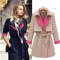 Fashion 2014 spring autumn block decoration turn-down collar personalized trench brand medium-long slim coats