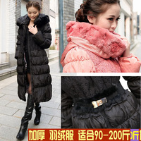 free shipping 2013 winter fashion dama women's plus size down coat mm xxxxl outerwear plus size winter 200 long  black pink