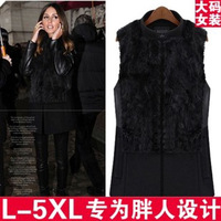 free shipping plus size autumn and winter vest fashion star style fur rabbit fur patchwork medium-long woolen stand collar vest