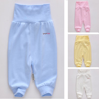 Baby belly protection trousers high waist pants 100% cotton long johns legging open file 0-1 year old baby trousers 2013 spring