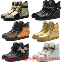 Fashion Design Giuseppe Sneakers For Men/Women GZ Shoes Genuine Leather High Top Sneakers 37 Colors Free Shipping