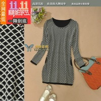 2013 autumn and winter marc joeobs knitted color block geometry plaid o-neck long-sleeve wool one-piece dress km91205