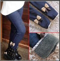 Winter kids jeans 2014 new girl's jeans children's clothing kids trouers cotton cashmere pants elastic waist legging warm pants