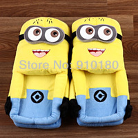 Wholesale 3 pairs/lot 28cm Despicable ME Minion 3D Eyes Jorge home Soft Plush Slipper Cosplay Shoes