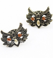 Min.order is $9 (mix order) Hot!!!Free Shipping! Luxury Vintage Rhinestone Owl Earrings E00001