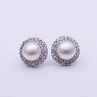 Freshwater Pearl Earrings women accessories 18 K gold plated  vintage stud earring nickel free Fine earrings jewelry