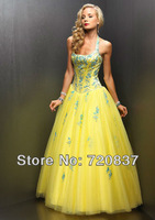 halter yellow wedding events special occasion long dresses with blue flowers appliques evening dress customized