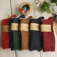 Free shipping 2013 Autumn and winter vintage solid color cashmere female socks screw wool  trophonema thermal boot socks