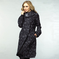 Autumn and winter fashion overcoat vintage jacquard woolen outerwear plus size long paragraph women's ultra