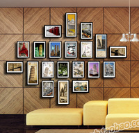 Eiffel tower photos of wall customize brief rustic combination photo frame wall eco-friendly plate