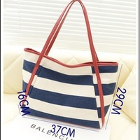 Free shipping+Foreign Trade Single+Casual Canvas Stripped Women's Shoulder Bag,37*29*16cm, black and blue color for Chose