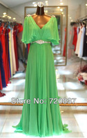 real picture straps green long ladies' wedding sepcial occasion dresses evening dress for prom gowns 000062