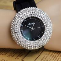 2015 78 Rhinestone big dial fashion Quartz watches silicone strap Women luxury Dress Wrist watch new free shipping brand casual