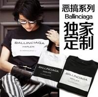 2015 Fashion trend c . o . i ballinciaga lovers unisex man Women's short sleeve T-shirt free shipping