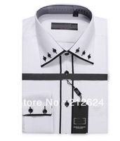 New Arrval Mens Dress Shirt For Men Unique 3 Buttons Neckline Stylish Polo T Shirts Brands Fashion 2013 Designer Long Sleeves