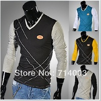 LT024 Fashion Style Men's V-Neck crosses pattern contrast colors shirts Casual Long Sleeve T-shirts 4 Sizes 4 Colors