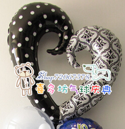 Anagram aluminum foil balloon/ personality black and white damask wedding love(China (Mainland))