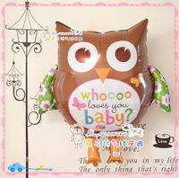 Anagram aluminum foil balloon owl ldquo . baby rdquo . birthday