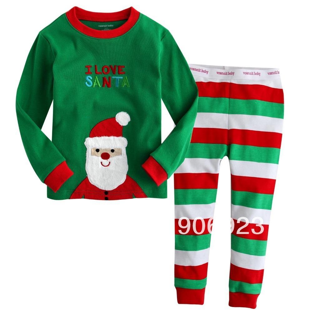 6stes/lot Brand 2013new boys Christmas clothing infant sleepwear kids cotton child pajamas sportwear new babys homewear Girl(China (Mainland))