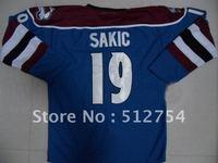 Free Shipping,Wholesale Ice Hockey Jersey, #19 Joe Sakic Hockey jersey,Embroidery logos,size 48-56,mix order
