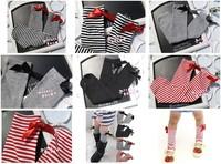 Free shipping / Retail Girls Fashion Prince Bowknot KneeHigh Cotton Tube Socks 4 Colors 10pcs = 5pair = lot