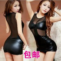 The temptation to set women's transparent gauze no open-crotch steel pipe tight leather skirt q481