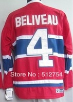 Free Shipping,Wholesale Ice Hockey Jersey, #4 Jean Beliveau Hockey jersey,Embroidery logos,size 48-56,mix order