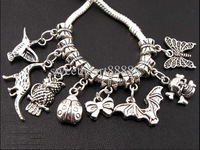 Mixed 120pcs Animal Sets Dangle Pendant Charms Beads Fit European Bracelet Jewelry DIY