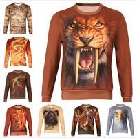 Free Shipping New 2014 Winter Women/Men Animal print dragon hoodies Pullovers dog/tiger/chameleon animal 3D sport Sweatshirt top