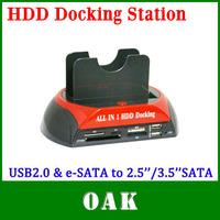 Free Shipping - WLX-875 USB2.0 & e-SATA to 2.5''/3.5'' SATA x2 Double Slots Multi-function HDD Docking Station