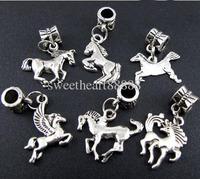 Wholesale - Mix 100pcs Tibetan Silver Horse Charms Beads Fit Charm Bracelet 2013011732
