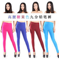 12 candy color Winter Two-thread legging plus velvet thickening polar fleece fabric high waist  pencil pants L~XXL PLUS SIZE
