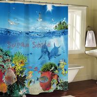 Bathroom blinds waterproof polyester printed fabric shower curtain mildew 180 * 180CM 12 marine fish hook