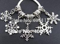 140 Tibetan Silver Mix Snowflake Sets Charms Beads Pendants Fit European Bracelet Jewelry DIY 122522