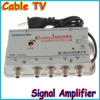 Free shipping+CATV Cable TV Signal Amplifier AMP Video Booster Splitter, AC220V 50Hz 2W