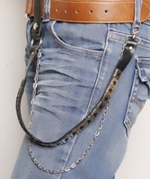 Punk chain casual pants male fashion belly chain five pointed star chain leather pants women's belly chain