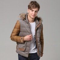 2013 winter high quality down coat detachable cap fur down coat collar thermal men's clothing