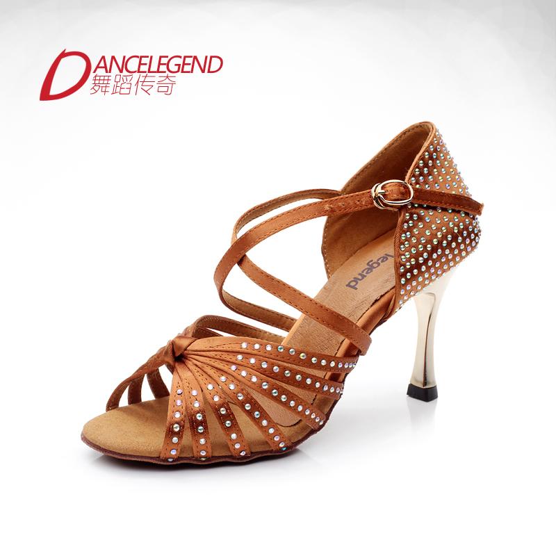 Satin gold plating rhinestones latin shoes ballroom dancing shoe 3inches heel women's dance shoes latin sandals zapatos latinos(China (Mainland))