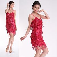 Free shipping Sexy Adjustable Strap Sequins Salsa Samba Rumba Tango Latin Dance Dress W0011